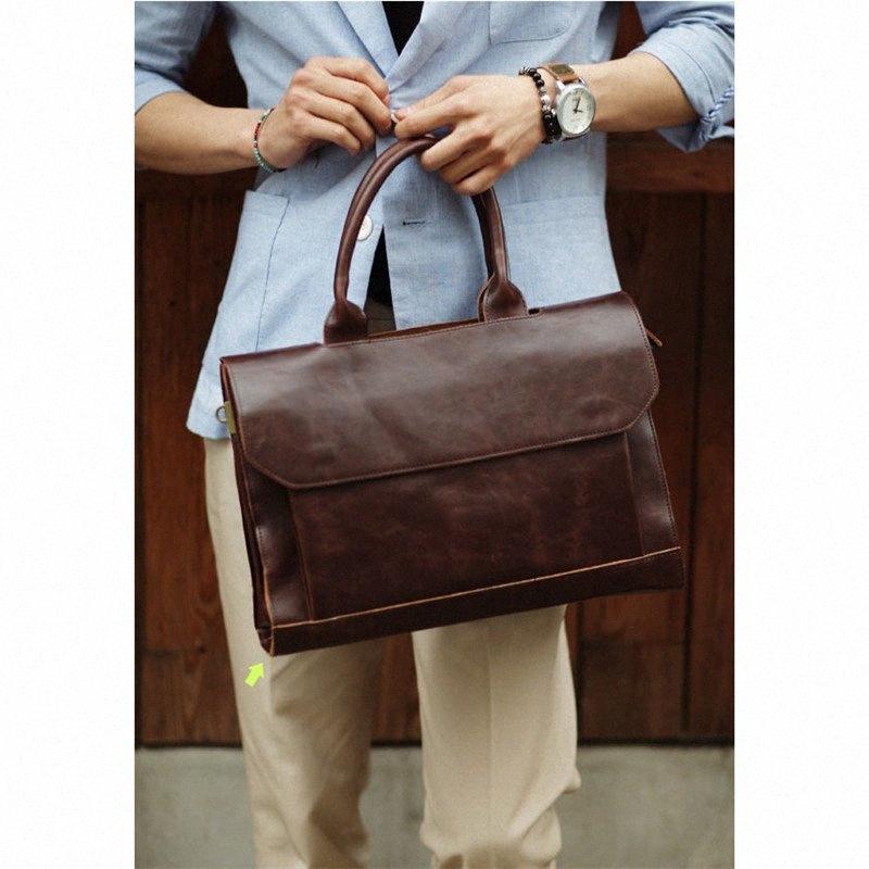 Ретро мужской портфель сумасшедшая кожаная кожаная сумка для ноутбука деловые люди мешка сумки кожаные ноутбуки сумка для ноутбука S7DS #