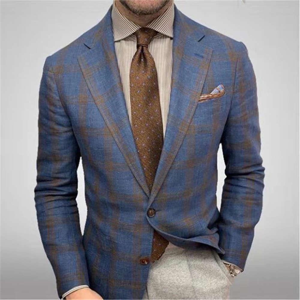 DewaDbow Homme Personnalité Business Homme Suit Veste Haute Qualité Mode Mode Plaid Imprimer Slim Coupe Chaud Blazer Manteau 2021