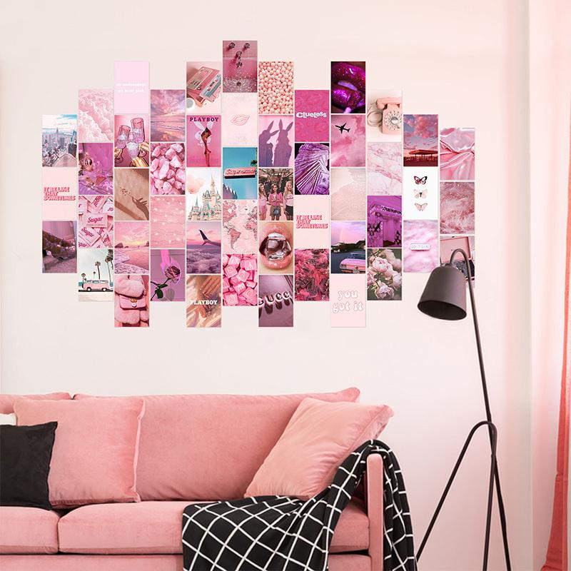50Pcs Pink Aesthetic Picture for Wall Collage Print Kits Warm Color Room Decor for Girls Wall Art Prints for Room Dorm Poster 210310