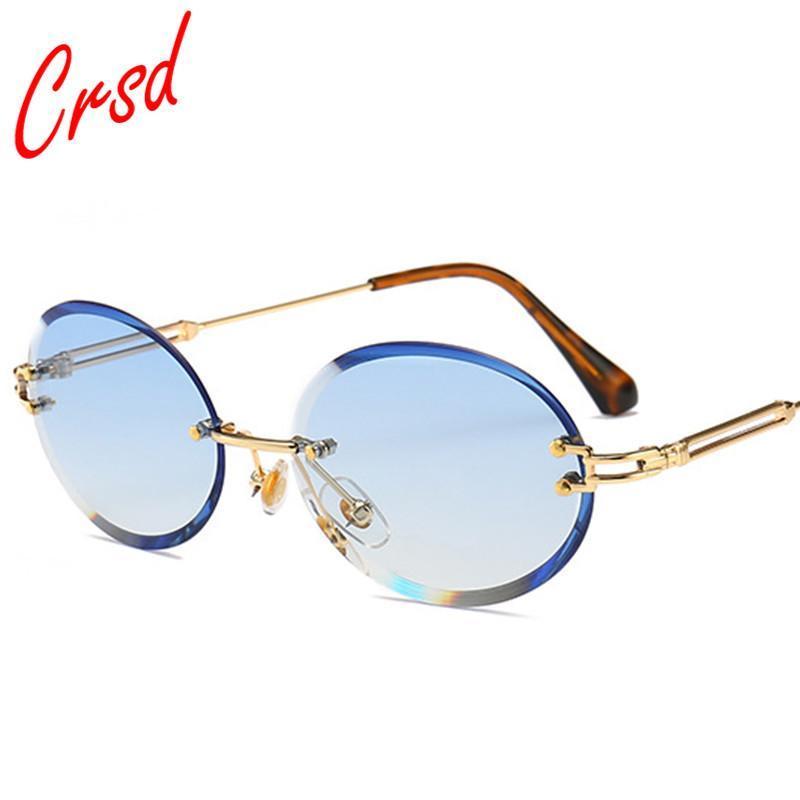 CRSD 2021 Retro Oval Sonnenbrille Frauen Männer Runde rahmenlos Grau Braun Klarer Ozeanlinsen Randlose Metall Sonnenbrille für Frauen UV400