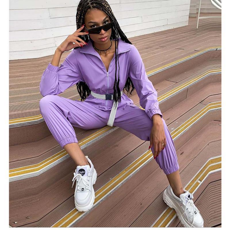 Mujer nueva cremallera medio soporte cuello grande bolsillo suelto suelto muelos con cinturón mujeres casual salir deporte monos púrpura Playsuits