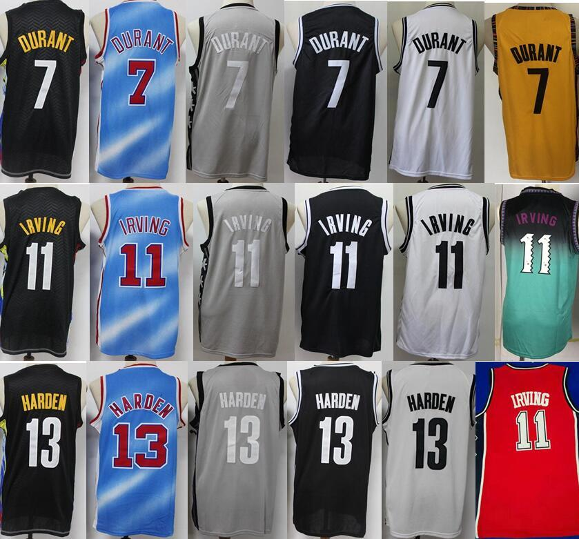 Baloncesto 7 Kevin Durant Jerseys 13 James Harden 11 Kyrie Irving City Ganed Edition Black White Blue Man Hombre de buena calidad Sponor Top