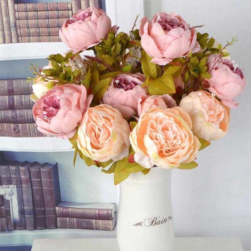 Avrupa İpek Yapay Çiçekler Buket Güz Canlı Şakayık Düğün Kahve Dükkanı için Sahte Yaprak Ev Partisi Dekorasyon Sahne