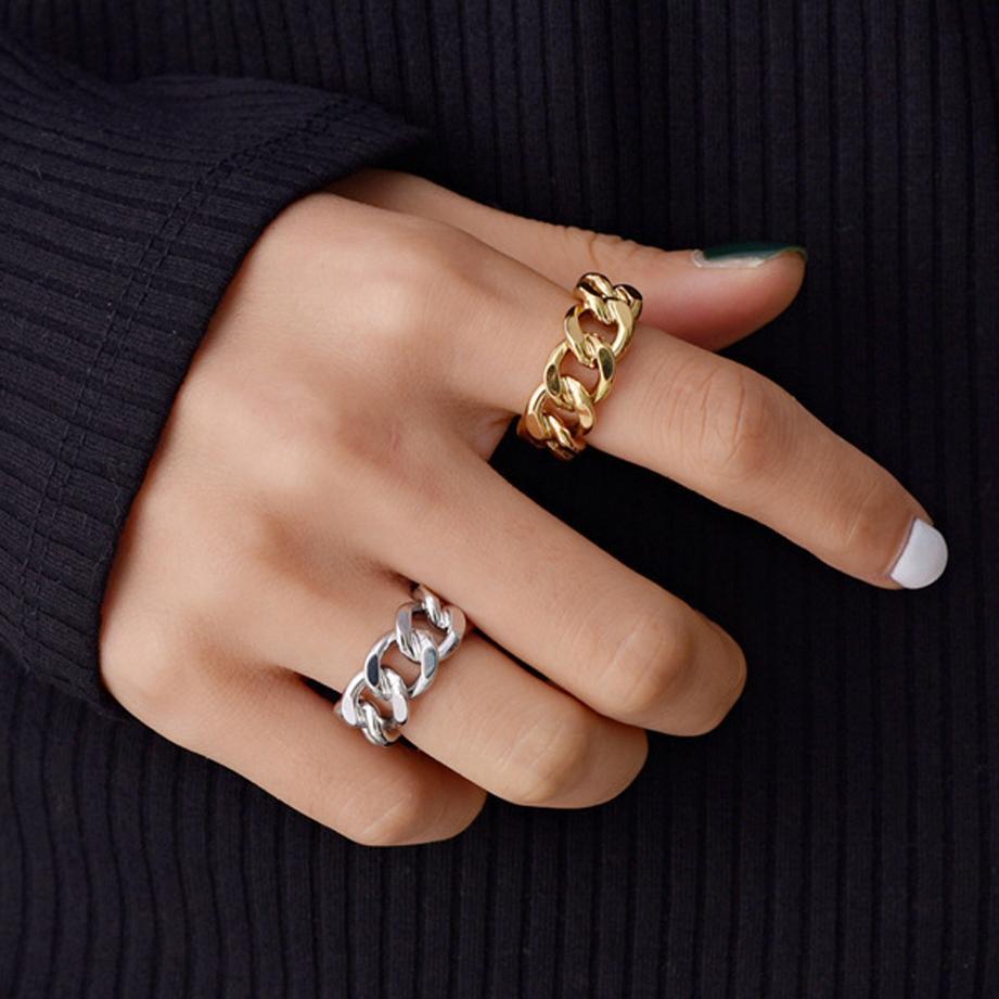 حار بيع الكوبي ربط سلسلة نمط البنصر شخصية الفضة الذهب قابل للتعديل الدائري الرجال إمرأة glod شغل الدائري مجوهرات هدية