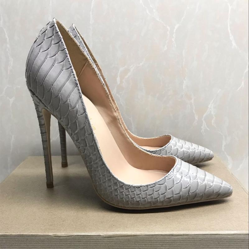 Kleidschuhe 2021 Mode grau Python Patentleder Leder Gifte TOE Stiletto Ferse High Shoe Pumpe High-Heeled