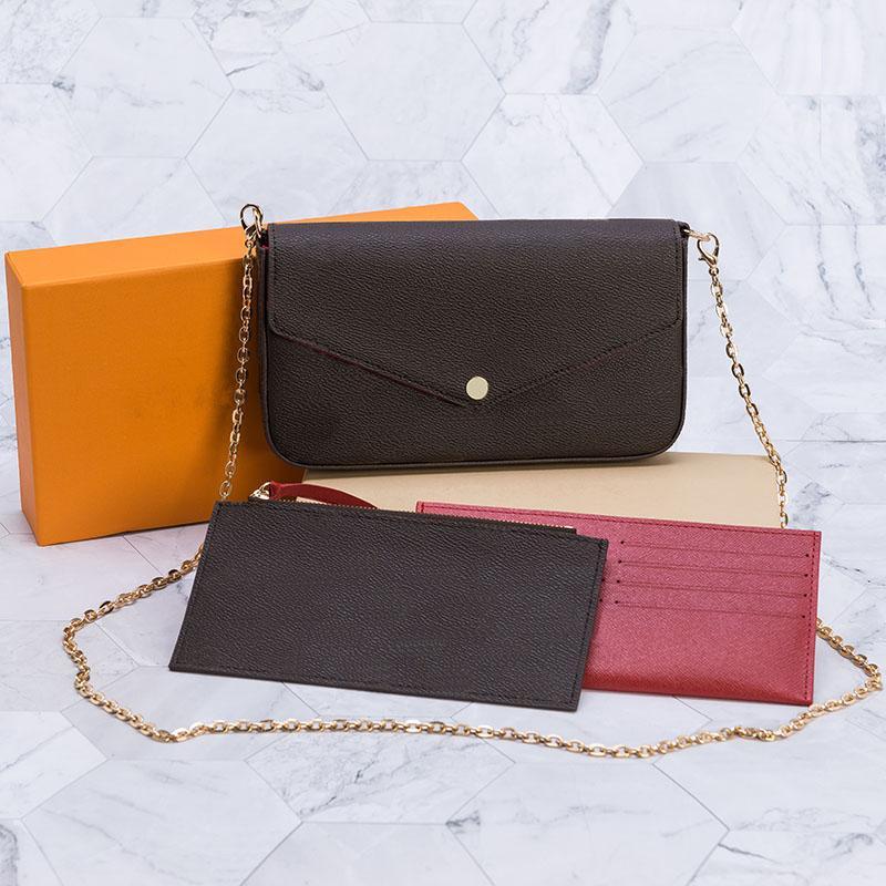 أعلى جودة 3 قطع مجموعة النساء حقيبة الكتف رسول حقيبة سلسلة حزام الصليب أكياس الجسم السيدات رفرف محفظة أكياس مخلب اليد مع صندوق وكيس الغبار