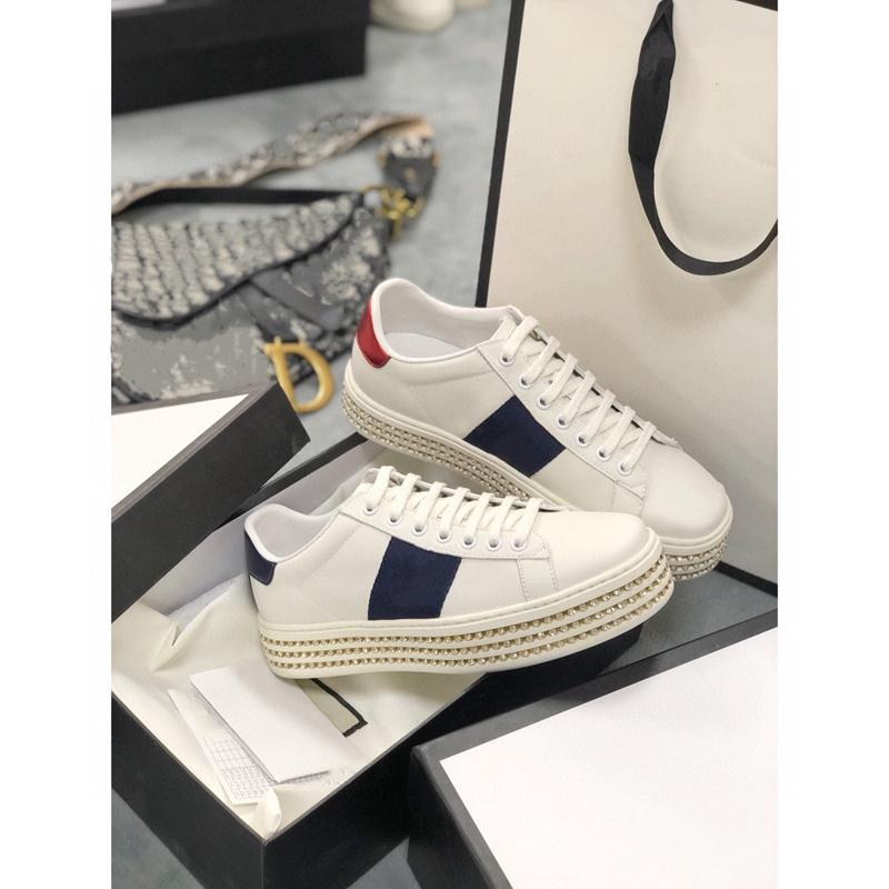 Gucci shoes 2021 vendendo design popular sapatos casuais branco ace verde azul listras vermelhas abelha tigre serpente amor sapatilhas homens e mulheres tamanho grande 35-41