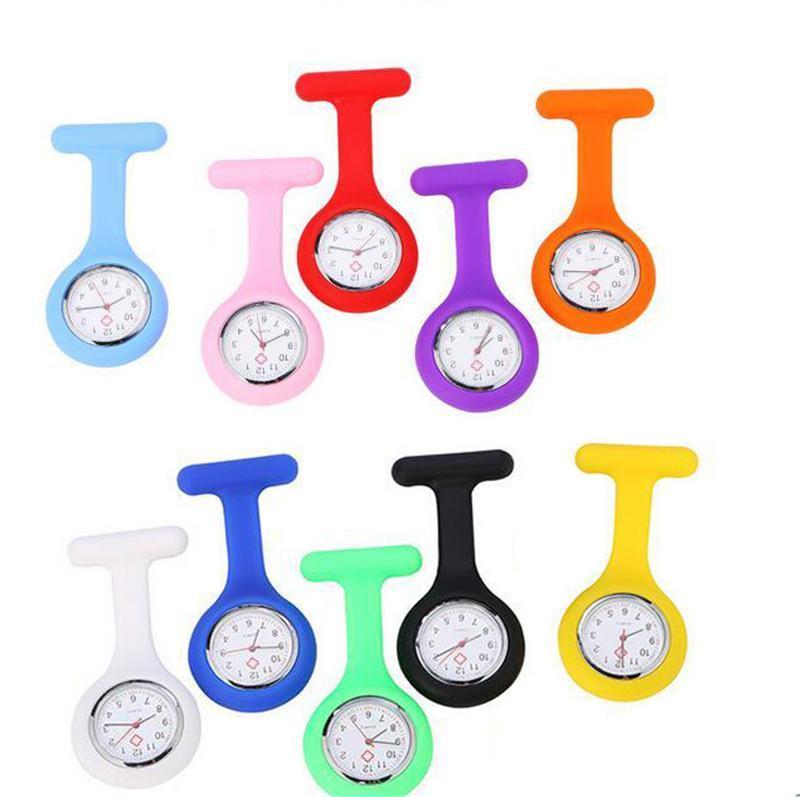 Presente de Natal Enfermeira relógio médico relógio de silicone relógios de bolso moda enfermeira broche fob túnica capa dourada relógios de quartzo de silicone