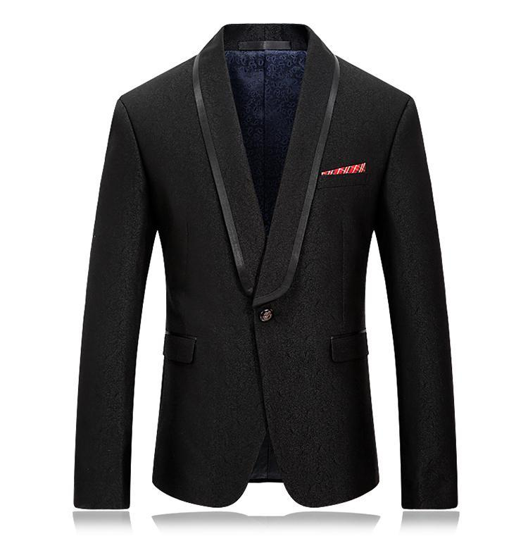 Abiti da uomo Blazer Blazer Blazer Blazer Blazer Jacquard Slim Fit con satinato Piping Collar Giacca Giacca Dinner Homme formale per