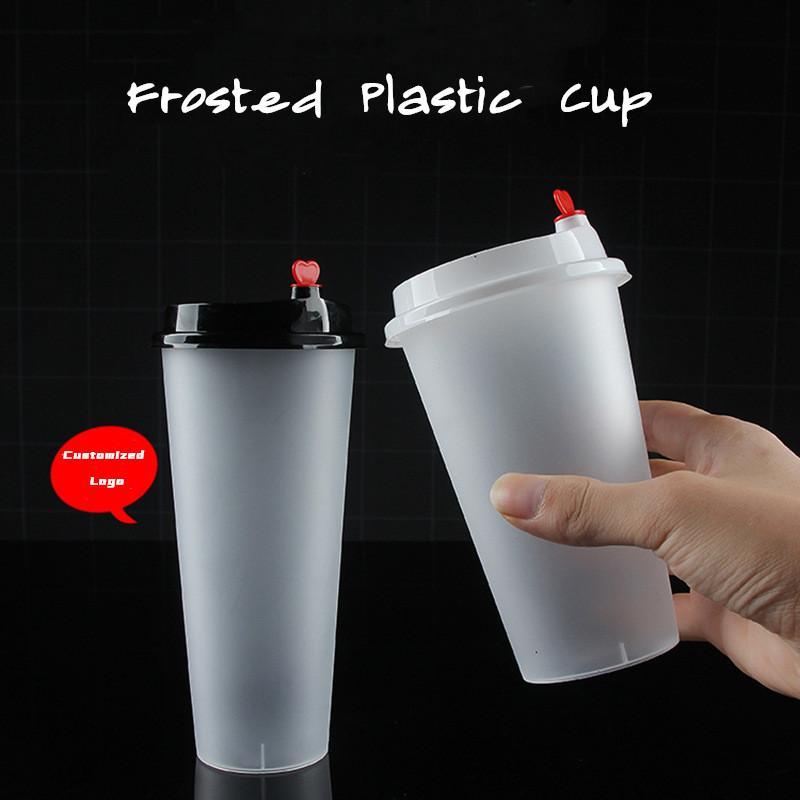 FedEx 20Oz Einweg-Kunststoffsaft-Tasse Herzdeckel Matt Milch Tee Becher Lebensmittel PP Getränkebehälter Verdicken Transparente Getränke Becher 142 S2