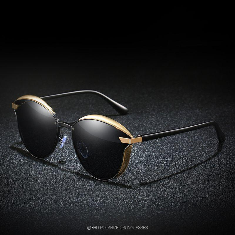 1 par de gafas de sol polarizadas para mujer femenina Decorativos Decorativos Sombras de resina Circular Arco Gafas de sol 6 Color Marco de oro rosa