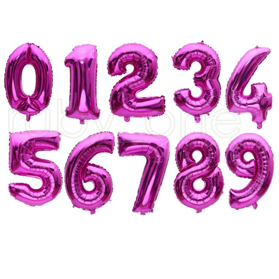 Balão de hélio 32 polegada de ouro número de alumínio balões de alumínio balões ballons decoração de aniversário casamento de ar balão festejar material r4147