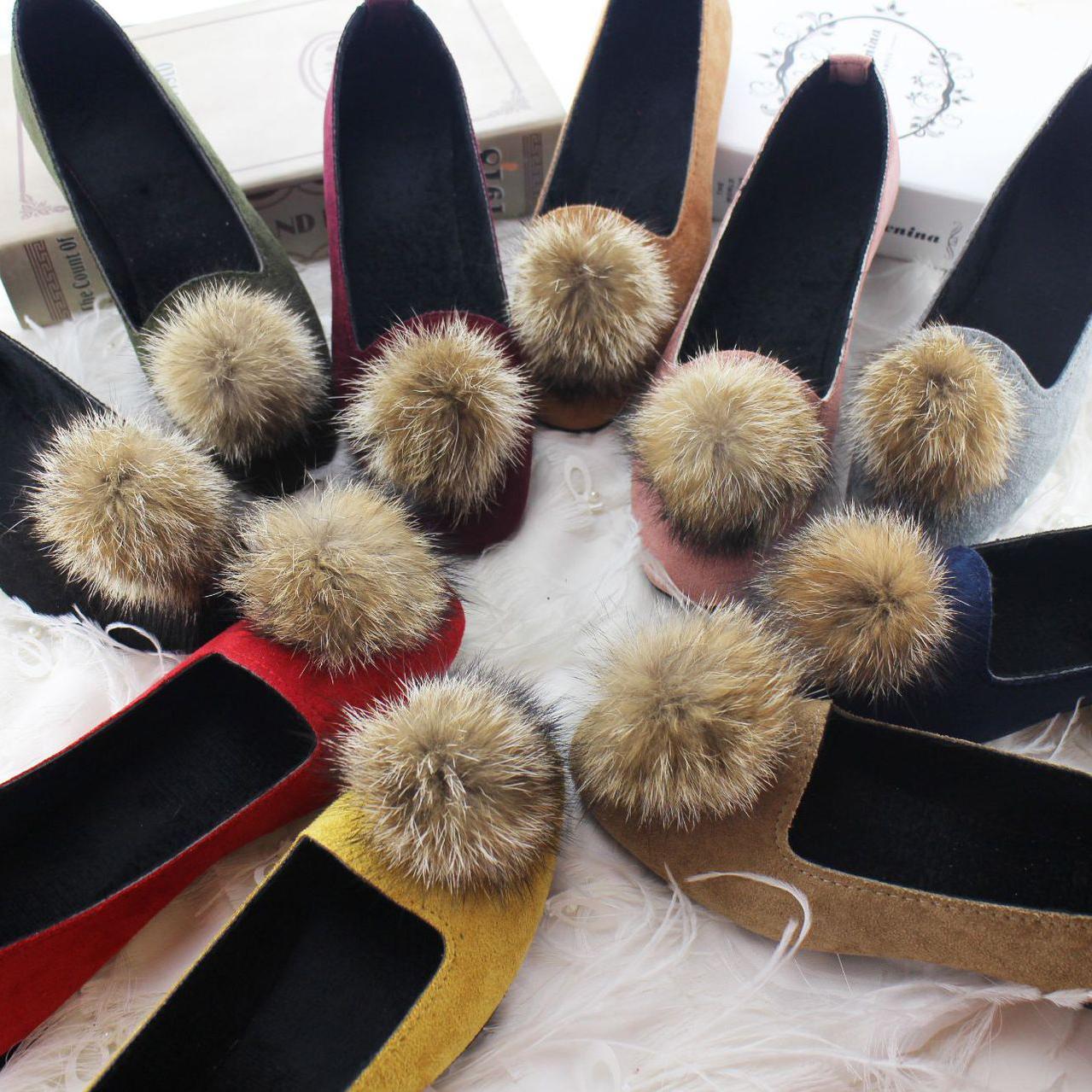 Sonbahar Kış Kadın Tekne Ayakkabı Peluş Düz Ayakkabı Üzerinde Kayma Siyah Loafer'lar Sıcak Top Kürk Bot Ayakkabı Artı Boyutu 35-42 Flats Kadın
