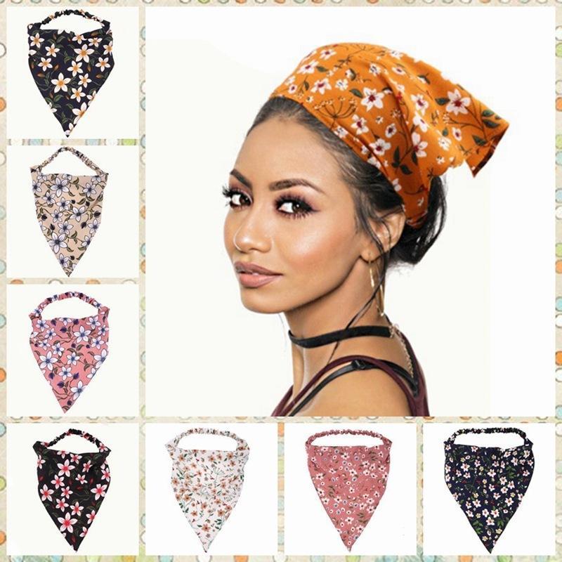 Banda de pelo banda elástica tela elástica flor rota asintiendo con la cabeza de las mujeres anti óleo humo triangular diadema fd