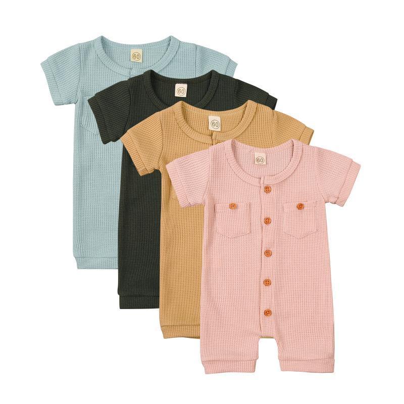 Jumpsuits 0-24M Born Baby Strampler Jumpsuit 2021 Sommer Jungen Mädchen Kleidung Feste Farbe Kurzarm Tasche Kleinkind Outfits