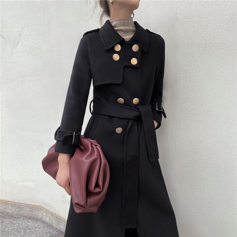 2021 New Female High-end Black Korean Jacket Autumn Long Fine Bouble Breasted Outwear Women's Wool Coat 7sjd