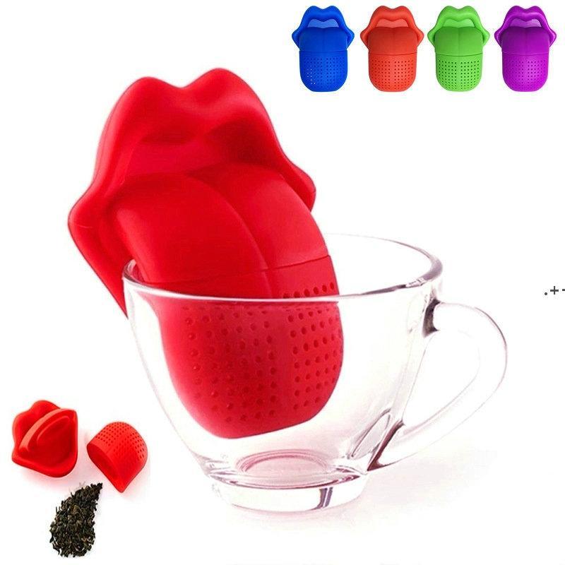 Criativo Big Língua Forma Forma de Chá Sacos Alimento Grau Silicone Lábios Bonitos Chá Infuser Infuser Fileiras Loose-Leaf Infuser Filter Bag NHE8133