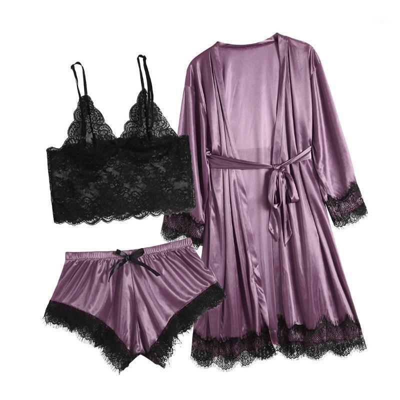 MUQGEW Kadın Gecelik Pijama Set Bornoz Kadınlar Seksi Dantel Lingerie Gecelikler Iç Çamaşırı Pijama 3PC Suits # G41