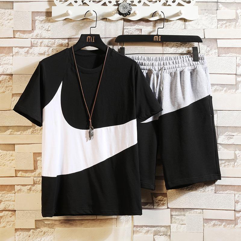 Ming Lilai 2021 летний новый хлопок с коротким рукавом повседневная капринская спортивная одежда мужская футболка