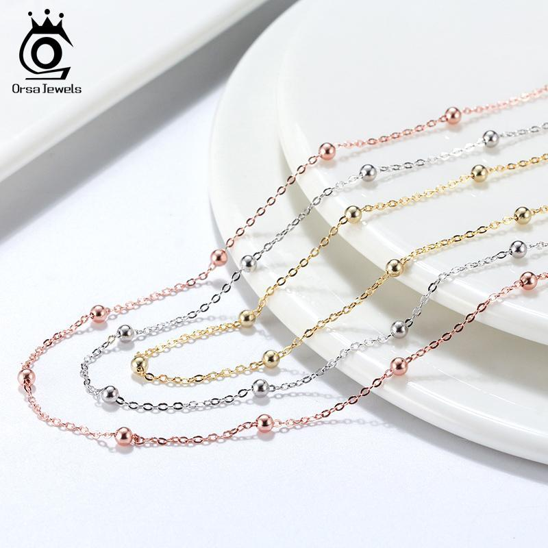 Chains ORSA JEWELS Solid 925 Sterling Silver 1.0mm Cable Chain Necklace With 2.0mm Ball Beads Station Basic SC43