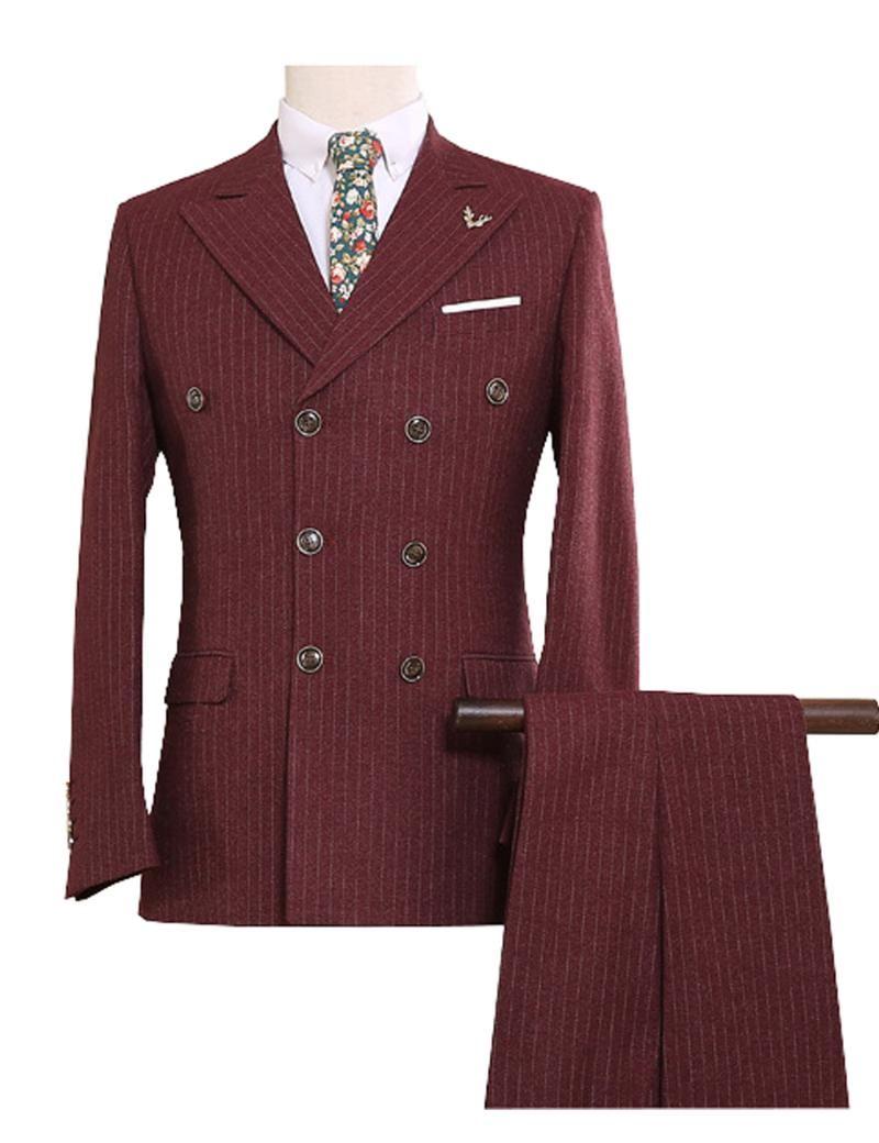 مخصص تويد الرجال الدعاوى النمط البريطاني الحديثة السترة 3 قطع الرجال الدعاوى (سترة + سروال + سترة) بدلة مخصصة S-5XL