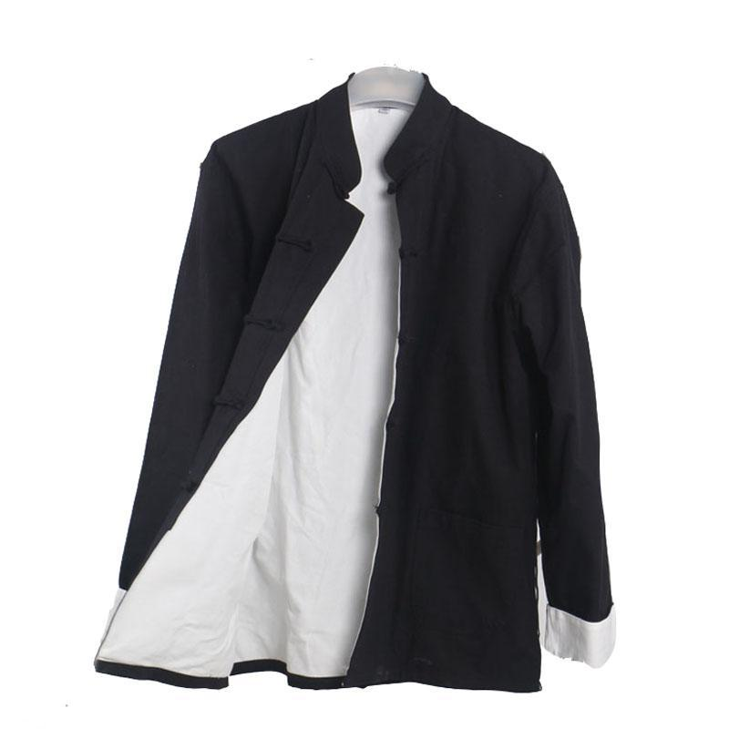 Herren Casual Double Deck Jacke Herbst Wintermantel Traditionelle chinesische Tang Anzug Mantel Tai Chi Uniform Baumwolle Tops