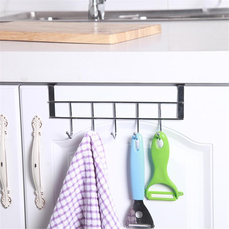 5 ganchos de aço inoxidável de aço inoxidável roupas toalheiro cabide de armazenamento de armazenamento de cozinha armário armário porta banheiro organizador