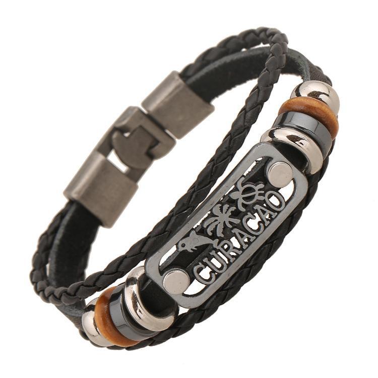 Панк из бисера пары пряжки кожаный браслет новых ювелирных изделий панк кожаный браслет