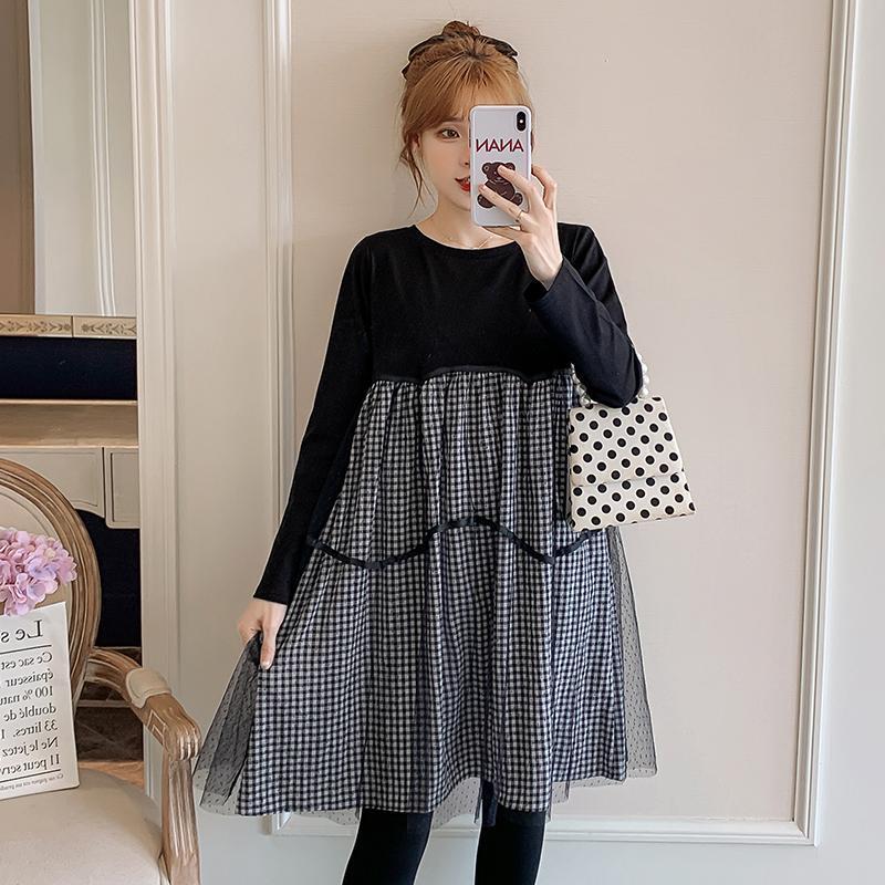 Otoño nuevo de manga larga suelta mujeres embarazadas vestido de algodón patchwork plaid malla a-line vestido más tamaño maternidad al por mayor