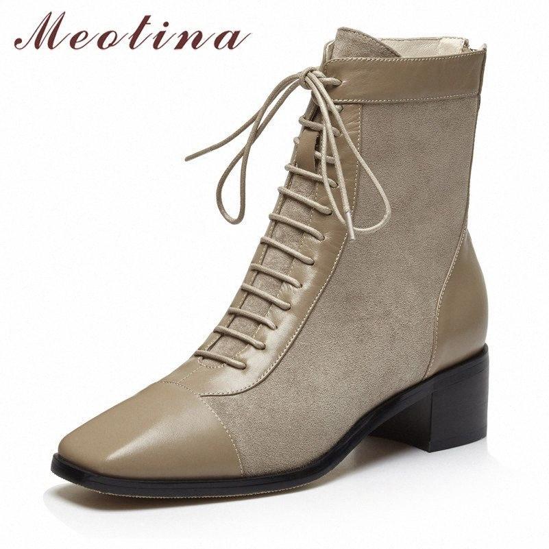Meotina Kış Ayak Bileği Çizmeler Kadın Doğal Hakiki Deri Zip Kalın Topuklu Kısa Çizmeler Dantel Yukarı Kare Ayak Ayakkabı Bayanlar Güz 34 39 Çizmeler A5BQ #