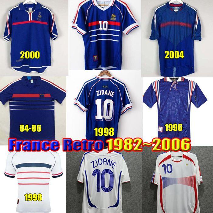 1998 Camisas de futebol RETRO ZIDANE HENRY Maillot Équipe De France 1982 1984 1996 2000 2002 2006 Camisa de futebol vintage maillot equipe de france