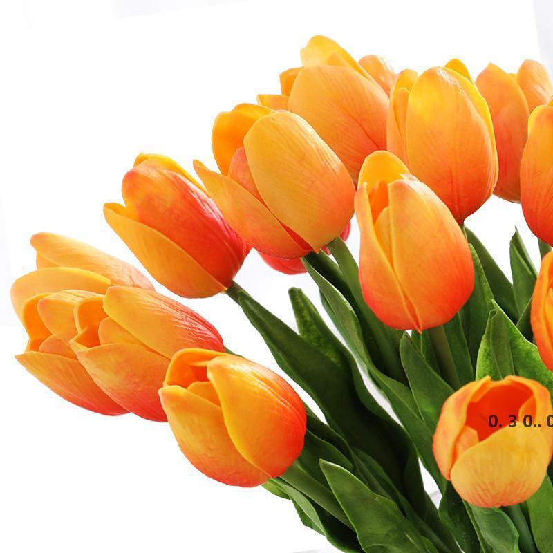 99 шт. Искусственные тюльпаны Цветы Главная Сад Украшения Реальный Сенсорный Цветочный Букет День Рождения Вечеринка Украшение Свадебные Украшения Поддельный Цветок EWA3813