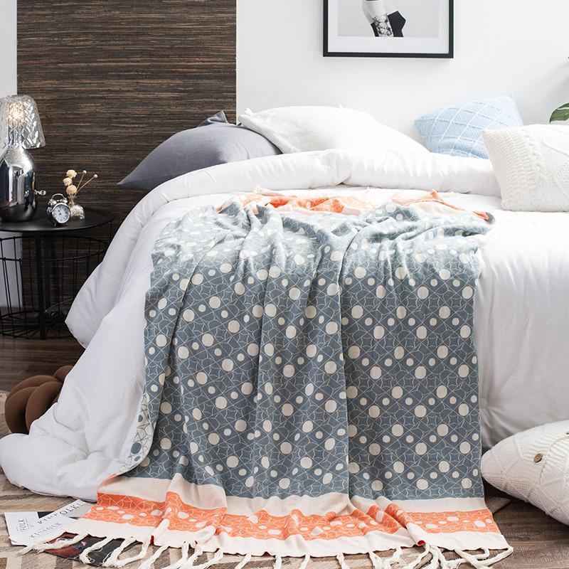Cobertor de sofá de ponto de onda bonito com tassel macio puro algodão de malha confortável cobertor cobertor para criança adulto casa decoração