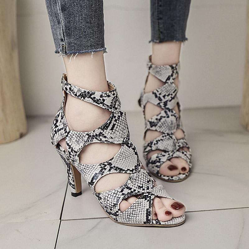 Gladyatör Sandalet Kadınlar Peep Toe Çıplak Çizmeler Yaz Yüksek Topuklu Sandalet Kesimleri Parti Ayakkabı Mujer Artı Boyutu 8136N