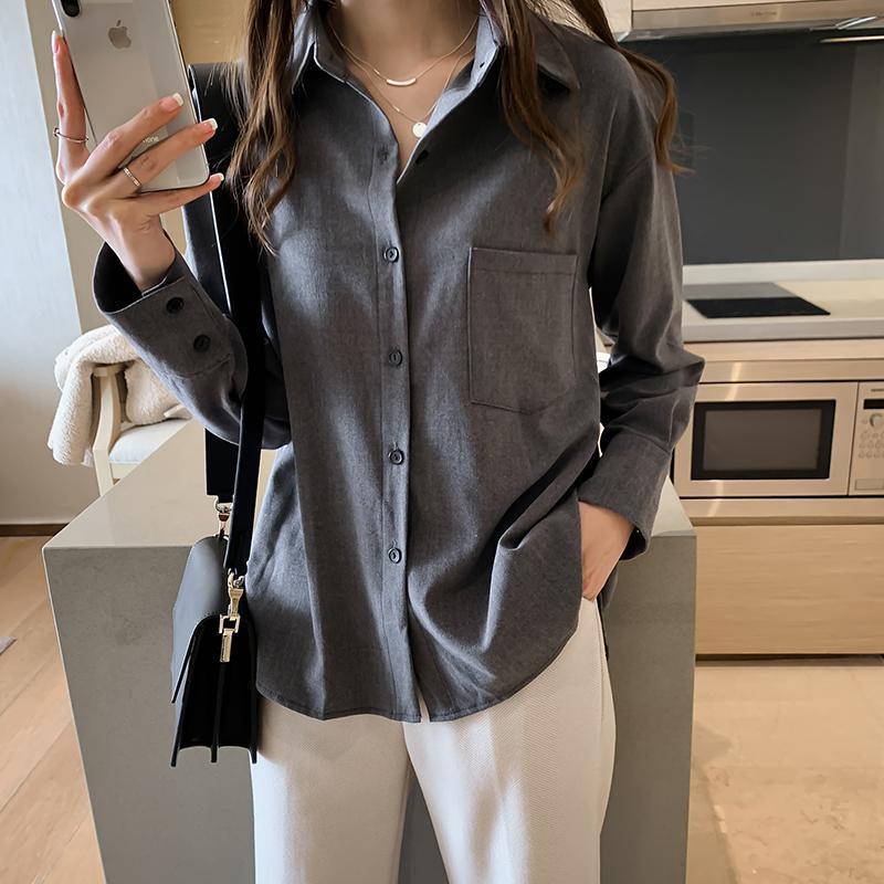 Женские блузки Рубашки BiboyAmall Blusas Mujer de Moda 2021 Женская одежда плюс Размер Офис Леди Длинный рукав Сплошная блузка Женщины