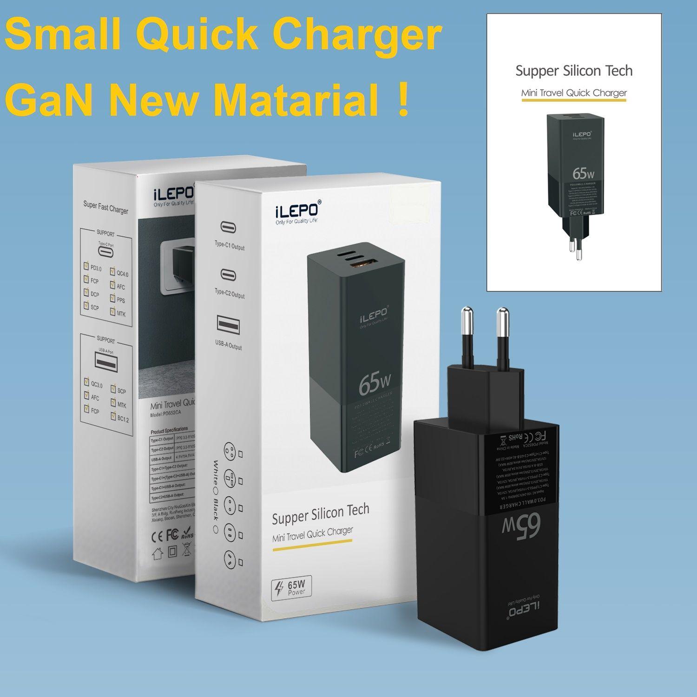 Toptan 65 W Gan 3-Port Şarj 2 * PD Şarj Tipi-C + 1 * QC 3.0 USB-A Portları Duvar Adaptörü Küçük Boy 40% Daha Hızlı 20 V 3A