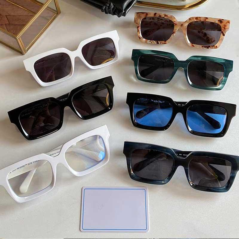 White sunglasses OW40001U square thick plate frame European and American style star hip-hop polarized glasses unisex size 50-22-145 with original box