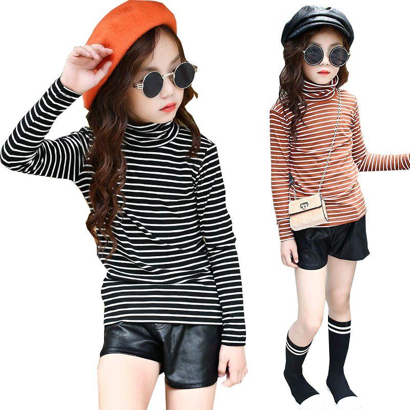 Girls Striped T Shirt Spring Autumn Long Sleeve Turtleneck Undershirt Girls Tops Tees Kids Clothes Children Costume 10 12 Years Q0202