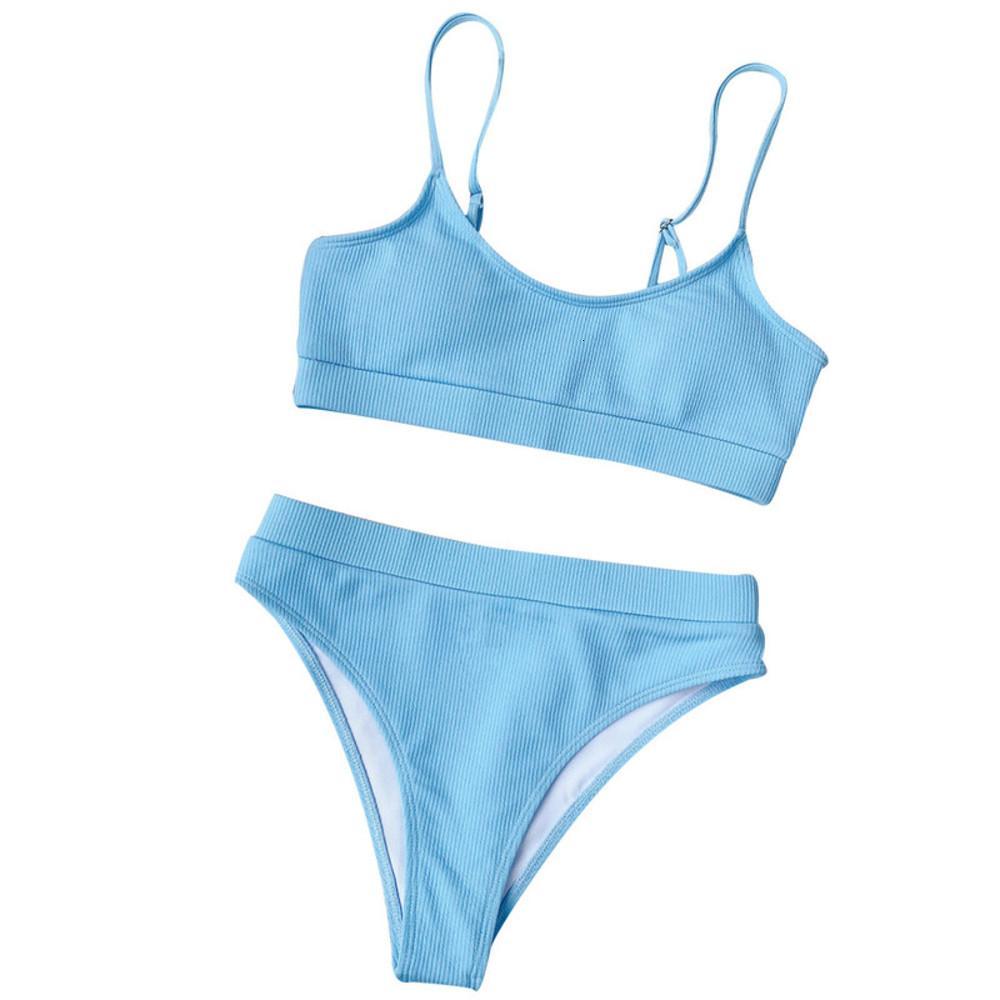 Mode Womens Sets Simple Damen Solide Farbe Bikini Push-up Pad Swimwear Sommer Modernes Badeanzug Beachwear Set