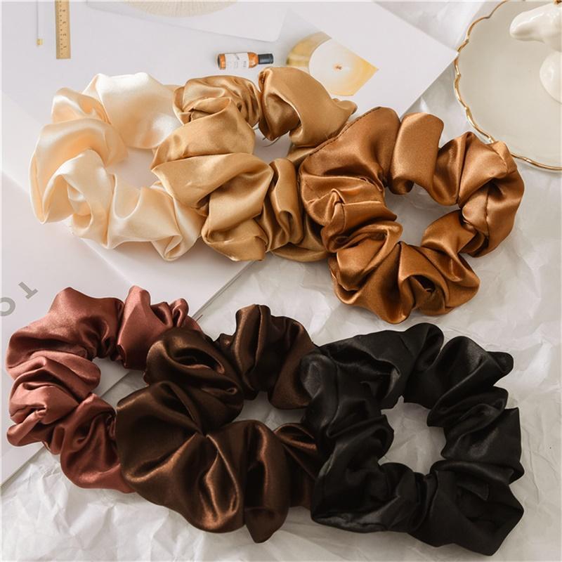 Screunchies Bailbands Tairbands Сплошные атласные полосы для волос Большие кишечники Галстуки для волос Ropes Girls Ponytail Держатель для волос Аксессуары для волос 6 Дизайн BY1575 79 Y2