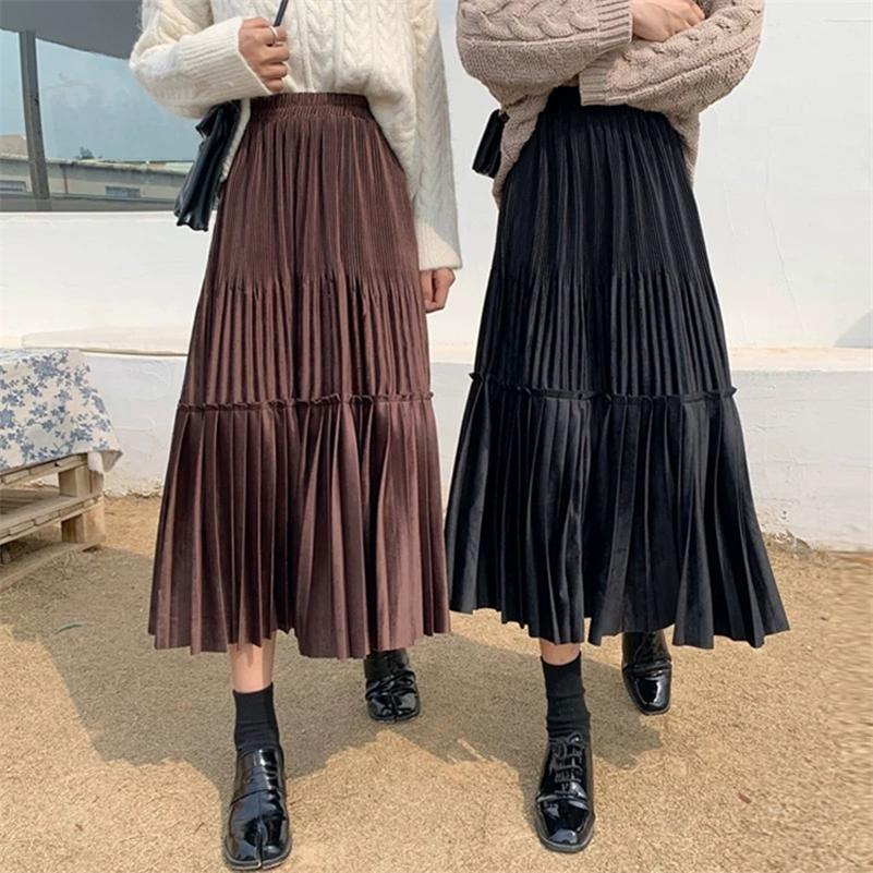 Feminino Vintage Veludo Plissado Saia Mulheres para Primavera Verão Moda Coreana Senhoras Cintura Alta Cintura Verde Verde Maxi Saia Femme 210315