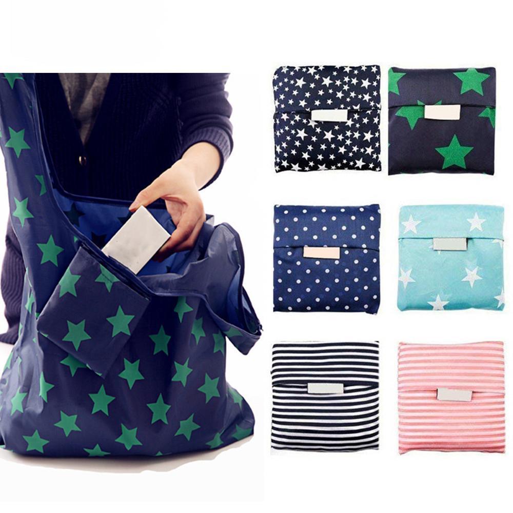 Bolso de cinco puntas de la estrella Bolsa de asas plegable Eco-Friendly Portable Oxford Paño Compras Impermeable 35.5 * 55 * 8cm Impresión de la moda Moda WPWQR
