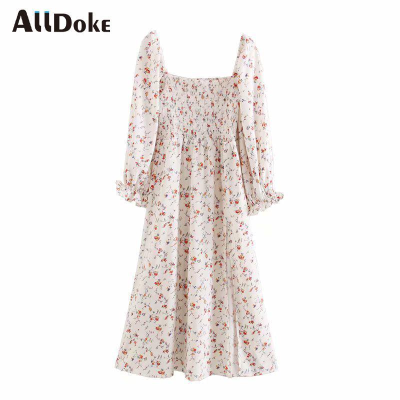 Alldoke Bianco Floral Stampa Vintage Dress Delle Donne Estate Estate Alta Vita quadrata Seak Beach Split Maxi Abiti da donna Abiti Vestidos