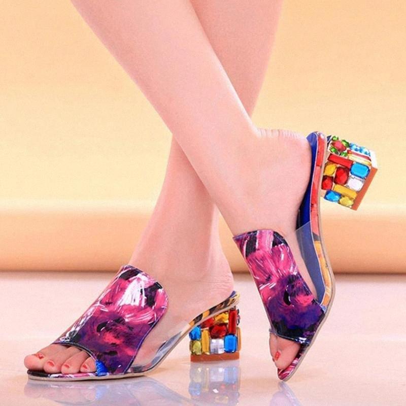 Moda Sandálias Sandálias Strass Cristais Quadrado Saltos Peep Toe Mulheres Sapatos Verão Chinelos de Verão Mules Plus Tamanho 34 41 Heaver Heels Heels Fro K7si #
