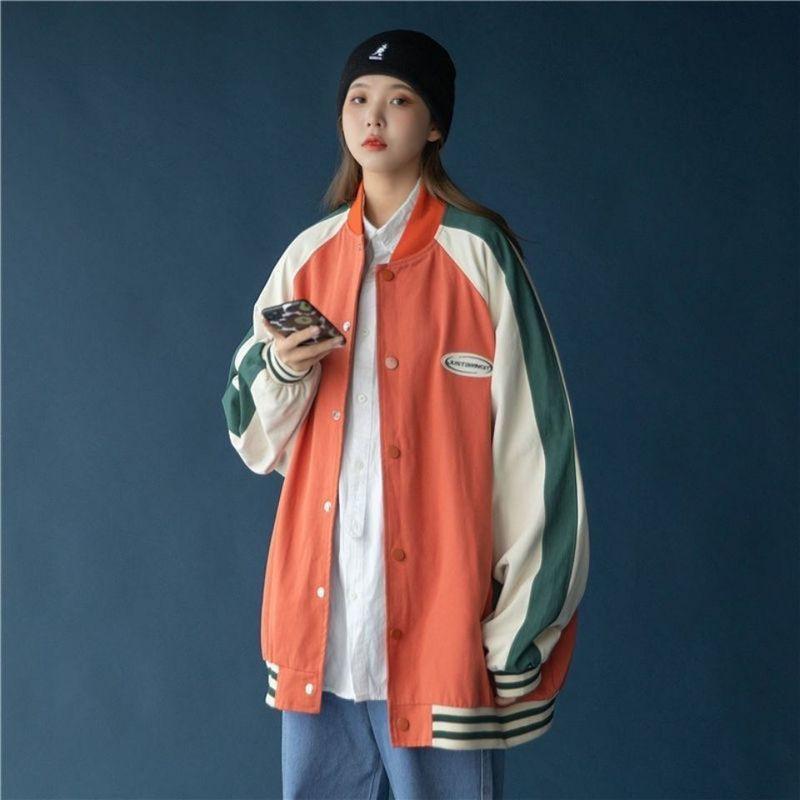 Chaqueta de uniforme de béisbol de bloqueo de color para hombres mujeres de gran tamaño coreano deportes primavera todo-partido preppy streetwear 210525