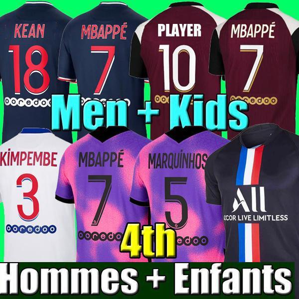 20 21 maillot de football MBAPPE NEYMAR JR VERRATTI 2020 2021 MARQUINHOS KIMPEMBE PSG maillots de football kit enfants