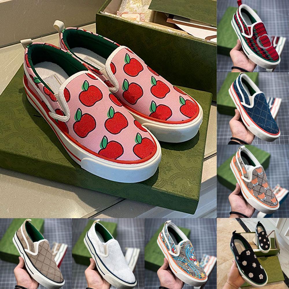 Tenis 1977 Sneakers Kadınlar Slip-On Rahat Ayakkabılar Beyaz Pembe Klasik Jakarlı Denim Vintage Koşucu Eğitmenler Paten Tasarımcısı Bayan Ayakkabı 35-40