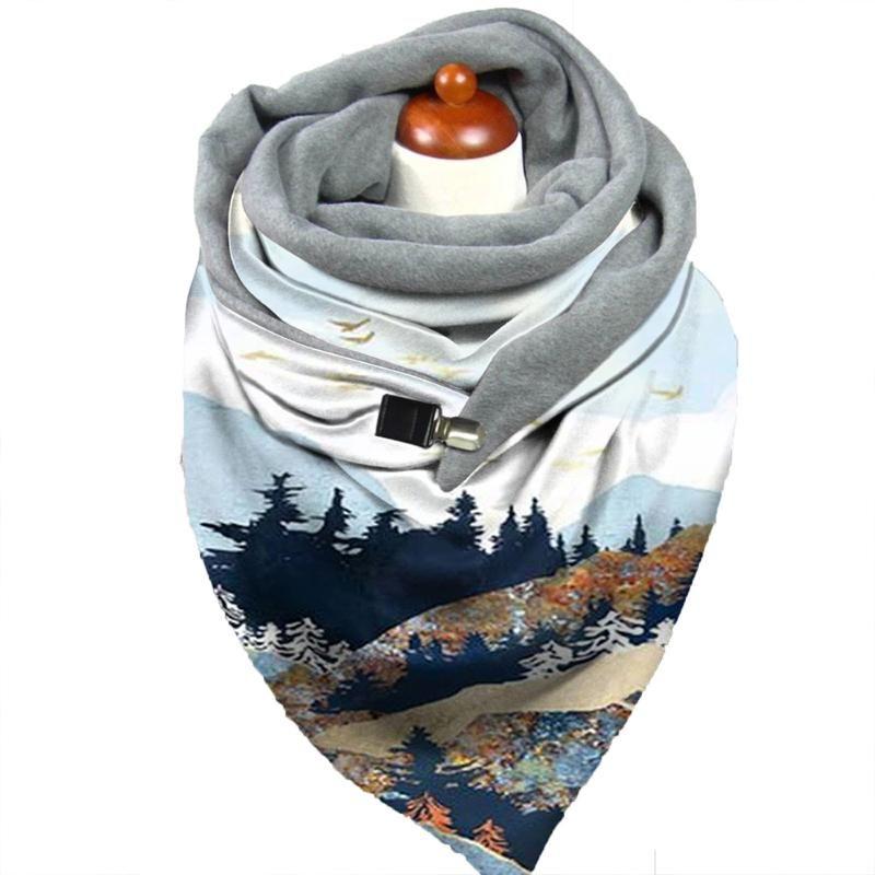 Зимние женщины шарф галф-окрашенный шарф с клипми зима шеи теплые надуваемые термальные обертки шаль женские шарфы