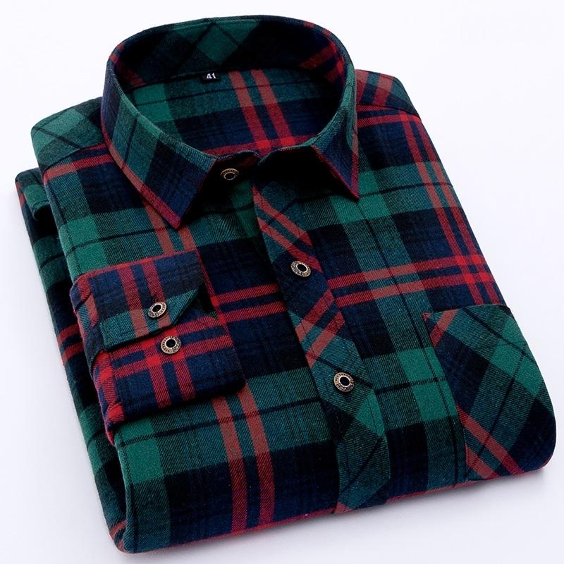 Camisa verificada para homens manga comprida Lixada tecido casual camisas em xadrez mens para adolescente excesso de lazer clássico roupas 210310