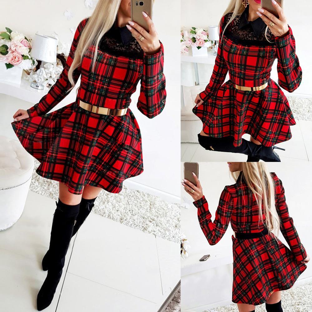Kadınlar Için Noel Elbise Kış Noel Kırmızı Ekose Elbise Uzun Kollu İskoç Ekose Ince Elbise Ekose Mini Parti Elbiseler 210226